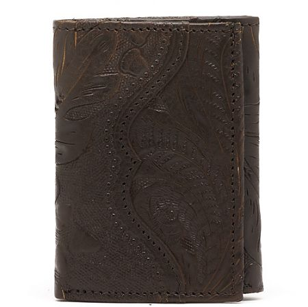 American West Mens Chocolate Brown Tri-Fold Leather Wallet