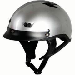 Vented Silver Half Helmet