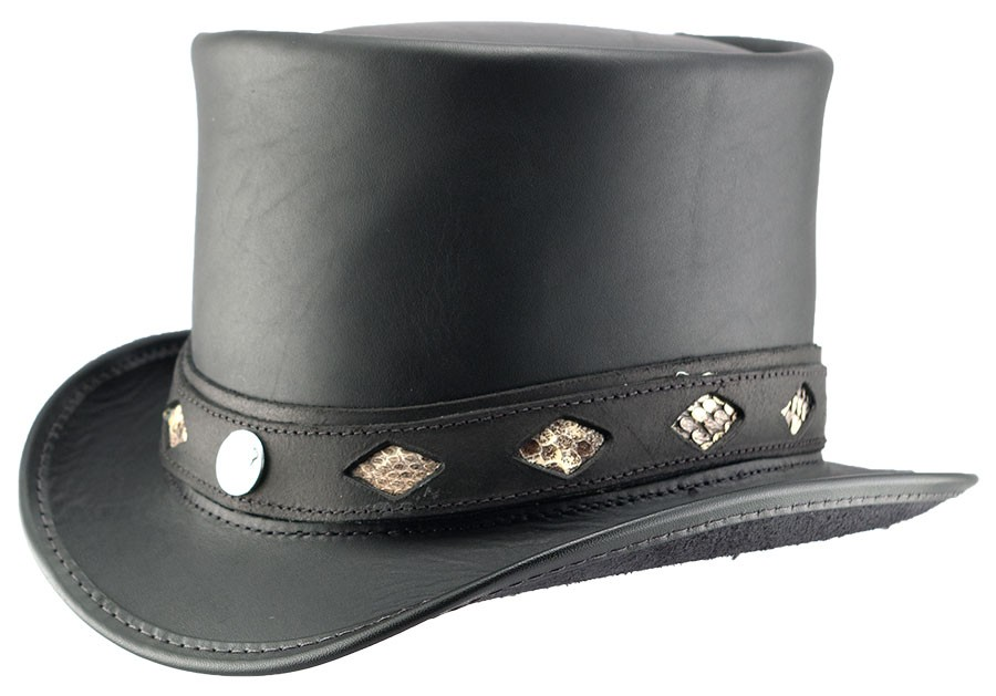 Topper Diamond Inlay Leather Hat Black