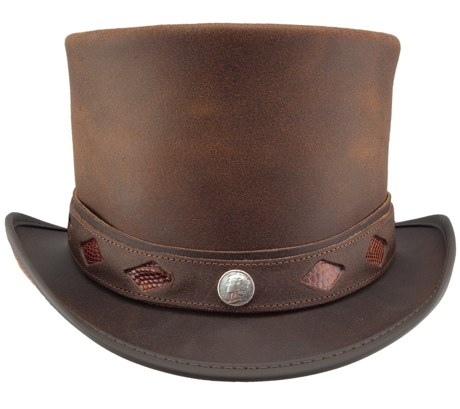 Topper Diamond Inlay Leather Hat Brown
