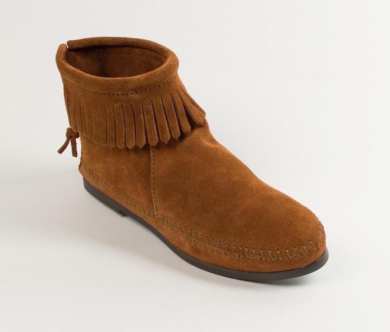 Womens Back Zipper Boot Brown Hardsole