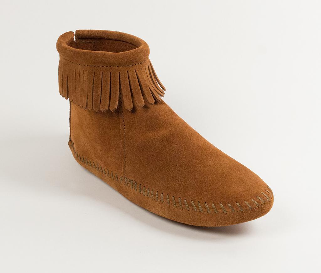 Womens Back Zipper Boot Brown
