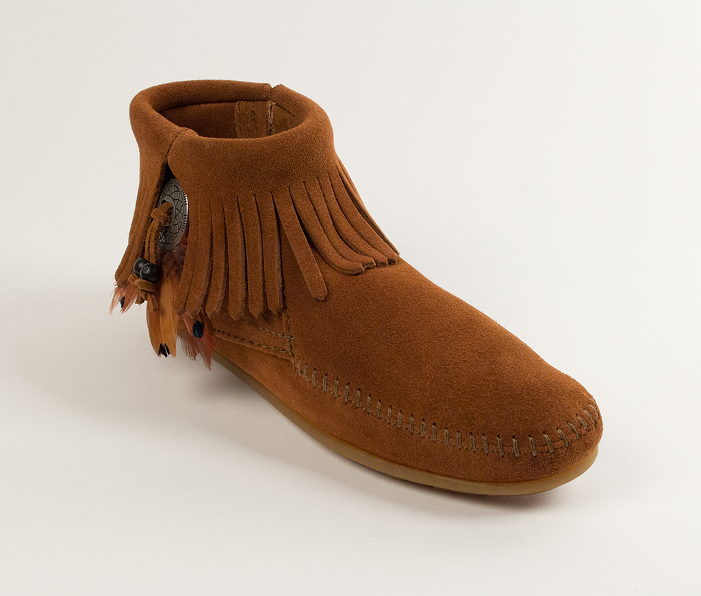 Concho/Feather Side Zip Boot Brown Suede