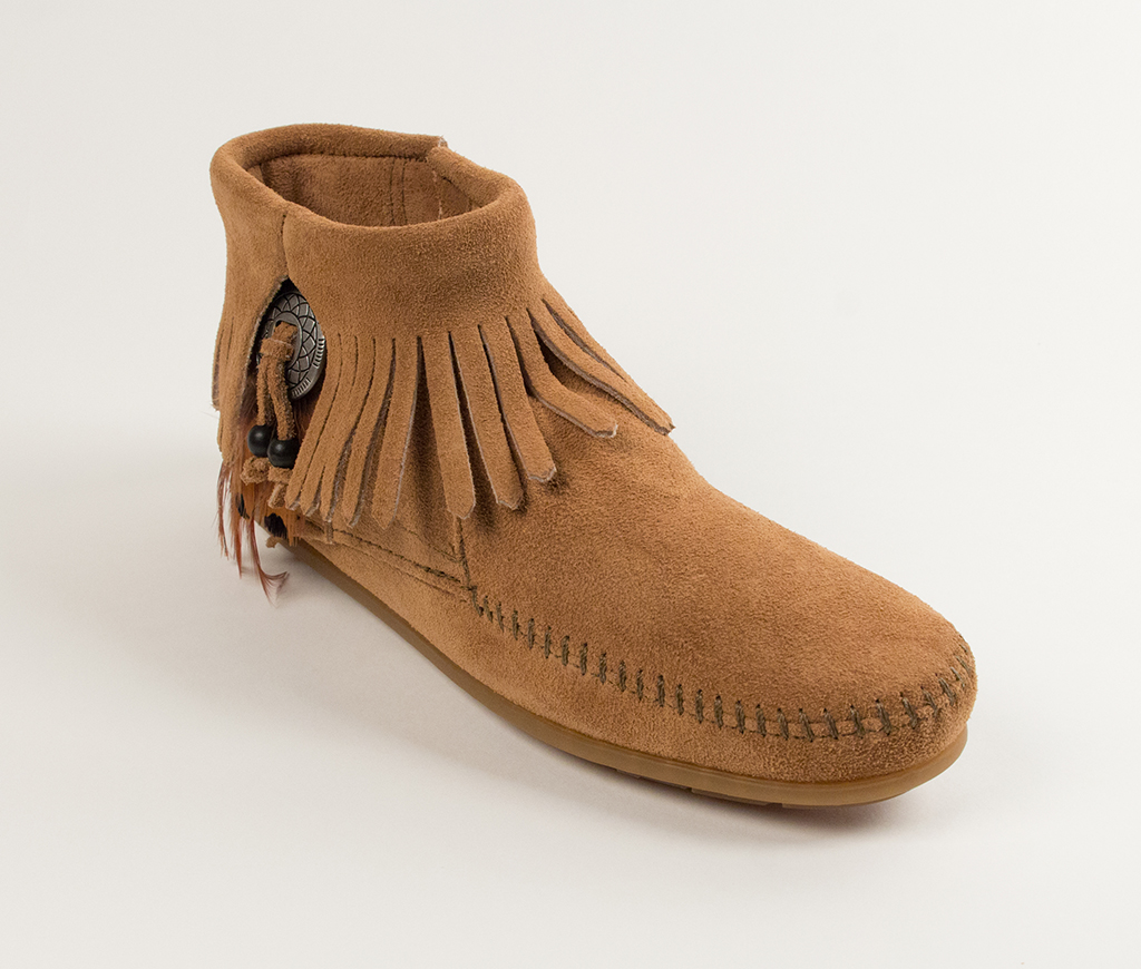 Concho/Feather Side Zip Boot Taupe Suede