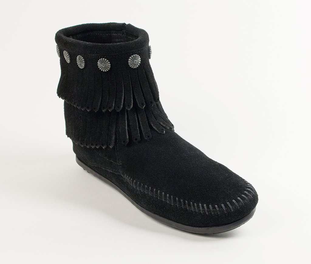 Double Fringe Side Zip Boot Black Suede