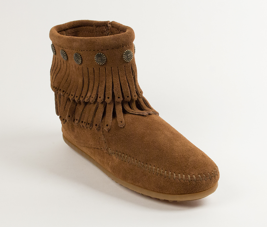 Double Fringe Side Zip Boot Dusty Brown Suede