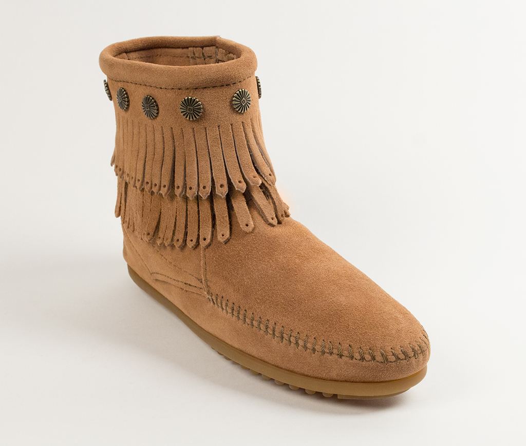 Double Fringe Side Zip Boot Taupe Suede