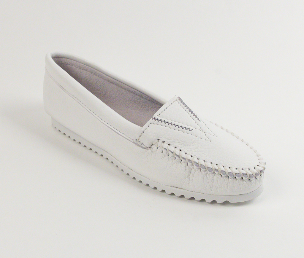 Womens Deerskin Classic Moccasin White