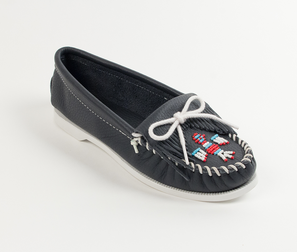 Womens Minnetonka Navy Smooth Thunderbird Boat Sole Moccasin