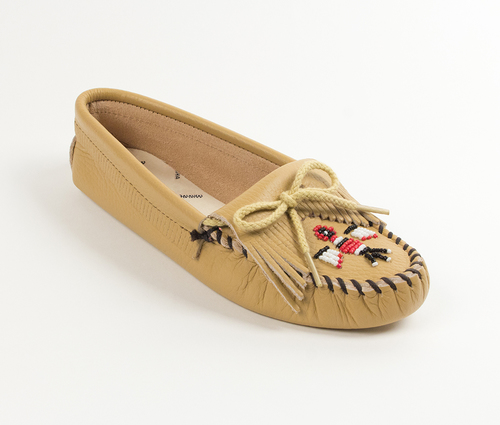 Womens Minnetonka Natural Thunderbird Softsole Moccasin