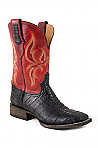 Mens Stetson Black/ Red Caiman Boot