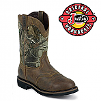 Men's Justin Rugged Tan Cowhide Waterproof Work Boot WK4675