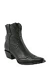 Charlie 1 Horse Black Demi Boots with Wingtip and Perforated Design