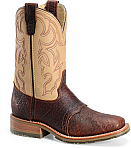 Mens Brown Wide Square Toe Bison Double H Boots