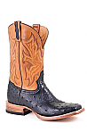 Mens Stetson Tan/Black Ostrich Boot