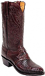 Mens Lucchese 1883 Black Cherry Lizard Boots with Diego Inlay