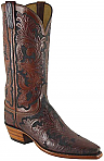 Lucchese Classic Mahogany Stained Floral Tooled Boots