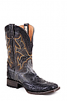 Mens Stetson Black Hand Tooled Wing Tip