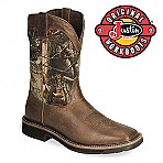 Men's Justin Work Boots Rugged Tan Cowhide Waterproof WK4676