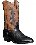 Pocono Kids Leather Cowboy Boots Brown with Black Inlay