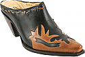 Charlie 1 Horse Black Slides with Caramel Wingtip