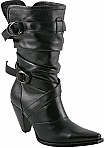 Charlie 1 Horse Black Slouch Boots with Double Ring Straps