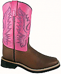 Smoky Boots Childrens Leather Pueblo Pink/ Brown