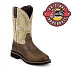 Men's Justin Boots Original Waxy Brown Steel Toe WK4661