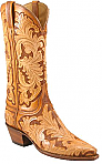 Lucchese Classic Natural/Brown Floral Hand Tooled Boots