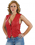 Shaf Red Leather Vest