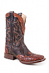 Mens Stetson Hand Tooled Brown Squared Toe Wing Tip
