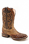 Mens Stetson Hand Tooled Tan Squared Toe Wing Tip