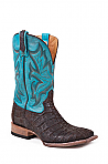 Mens Stetson Chocolate Nubuck Flank Caiman Boot