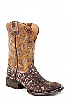 Mens Stetson Brown/ Distressed Caiman Boot