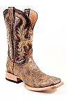 Mens Stetson Distressed Black/Brown Square Toe Boot