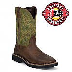 Men's Justin Boots Original Waxy Brown Cowhide Steel Toe  WK4688