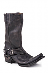 Mens Stetson Distressed Black Rocker Toe