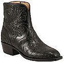 Womens Luccchese Classics Black Hand Tooled Pony Construction Boots