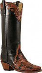 Lucchese Classic Mahogany and Black Hand Tooled Boots