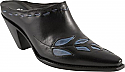 Charlie 1 Horse Black Slides with Blue Vine Inlay