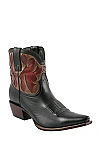 Charlie 1 Horse Black Demi Boots with Red Inlays