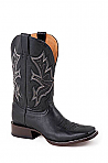 Mens Stetson Square Toe Black Boot