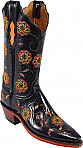 Womens Lucchese 1883 Black Buffalo Vicky Stitch Boots