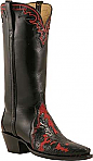 Lucchese Classic Red and Black Hand Tooled Boots