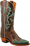 Womens Lucchese 1883 Chocolate Oil Calf Boots with Dixie Wingtip