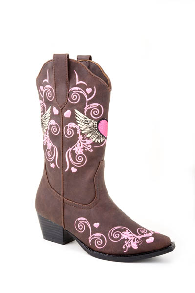 Children's Roper Brown Heart Faux Leather Fashion Boot