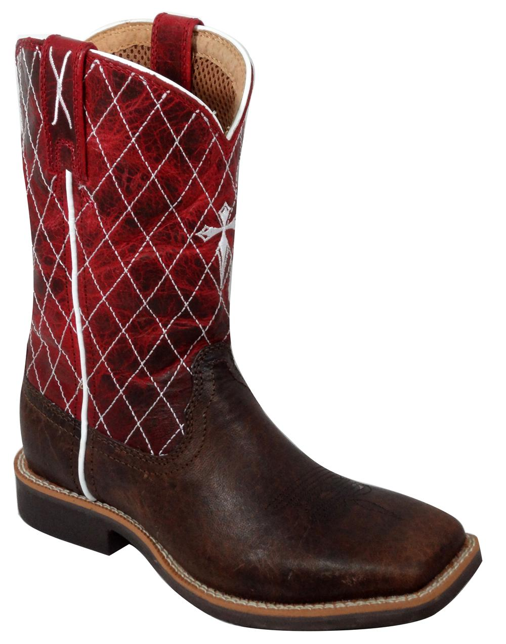 Youth Twisted X Chocolate & Red Pull-On Cowboy Boots
