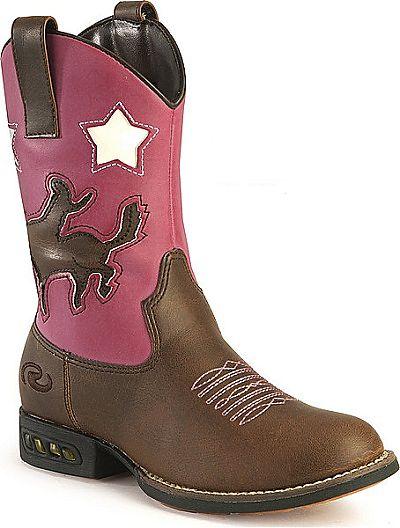 Children's Pink & Brown Light Up Cowboy Boots