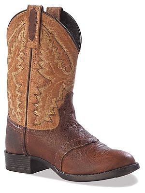 Jama Leather Cowboy Boots in Two Tone Brown