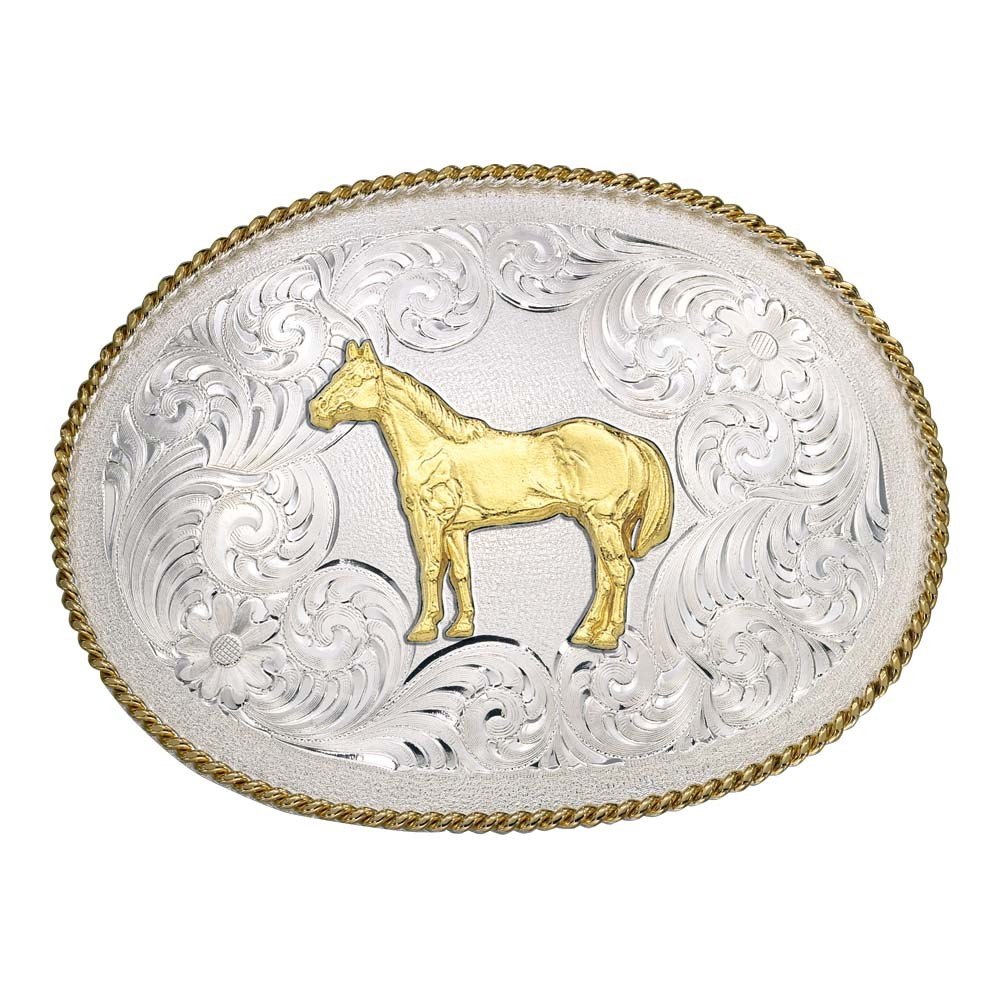 Large Oval Classic Engraved Buckle with Standing Horse (2450-54)